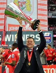 Bristol City manager, Steve Cotterill with the JPT trophy  - Photo mandatory by-line: Joe Meredith/JMP - Mobile: 07966 386802 - 22/03/2015 - SPORT - Football - London - Wembley Stadium - Bristol City v Walsall - Johnstone Paint Trophy Final