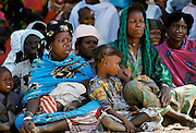 Crowd attending tribal gathering durbar cultural event at Maiduguri in Nigeria, West Africa