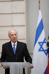 Israeli President Shimon Peres and French President Nicolas Sarkozy deliver a speech after their working lunch at the Elysee Palace in Paris, France on April 15, 2010. Photo by Albert Facelly/Pool/ABACAPRESS.COM