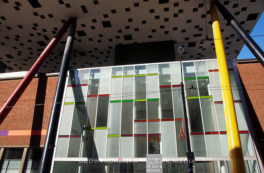 The facade of Ontario College of Art and Design located in Toronto, Canada.