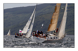 Yachting- The first days inshore racing  of the Bell Lawrie Scottish series 2002  at Tarbert Loch Fyne. Near perfect conditions saw over two hundred yachts compete. <br />Equinox X332 IRL1332 and Euavation 4 First 33.7 GBR9698R  class 3<br />Pics Marc Turner / PFM