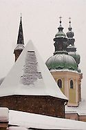 Saltzburg - Austria,  St Peters Church in the snow .<br /> <br /> Visit our AUSTRIA PHOTO COLLECTIONS for more photos to download or buy as wall art prints https://funkystock.photoshelter.com/gallery-collection/Pictures-Images-of-Austria-Photos-of-Austrian-Historic-Landmark-Sites/C0000VRQ9JIAzOxc