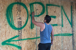 A sign is painted on a boarded pub in preparation for hurricane Irma Friday, September 8, 2017 in Hollywood, FL, USA. Photo by /Paul Chiasson/CP/ABACAPRESS.COM