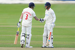 James Kettleborough of Glamorgan celebrates scoring a half-century with Colin Ingram of Glamorgan - Mandatory byline: Dougie Allward/JMP - 07966386802 - 22/09/2015 - Cricket - County Ground -Bristol,England - Gloucestershire CCC v Glamorgan CCC - LV=County Championship