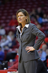 01 January 2009: Redbird coach Robin Pingeton looks on in disbelief at a call by the officials. The game between the Creighton Bluejays and the Illinois State Redbirds ended with the Redbirds on top by a score of 63-43 on Doug Collins Court inside Redbird Arena on the campus of Illinois State University, Normal IL.