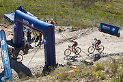 Ariane Kleinhans (front) and Annika Langvad of Team RECM2 win the Sasol ladies hotspot during stage 5 of the 2014 Absa Cape Epic Mountain Bike stage race held from The Oak Estate in Greyton to Oak Valley Wine Estate in Elgin, South Africa on the 28 March 2014<br /> <br /> Photo by Greg Beadle/Cape Epic/SPORTZPICS