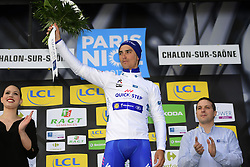 March 7, 2017 - Chalon Sur Saone, France - CHALON-SUR-SAONE, FRANCE - MARCH 7 : ALAPHILIPPE Julian (FRA) Rider of Quick-Step Floors Cycling team pictured during the podium ceremony in the white jersey after stage 03 of the 75th edition of the Paris - Nice cycling race, a stage of 190 km with start in Chablis and finish in Chalon-Sur-Saone on March 07, 2017 in Chalon-Sur-Saone, France, 7/03/2017 (Credit Image: © Panoramic via ZUMA Press)