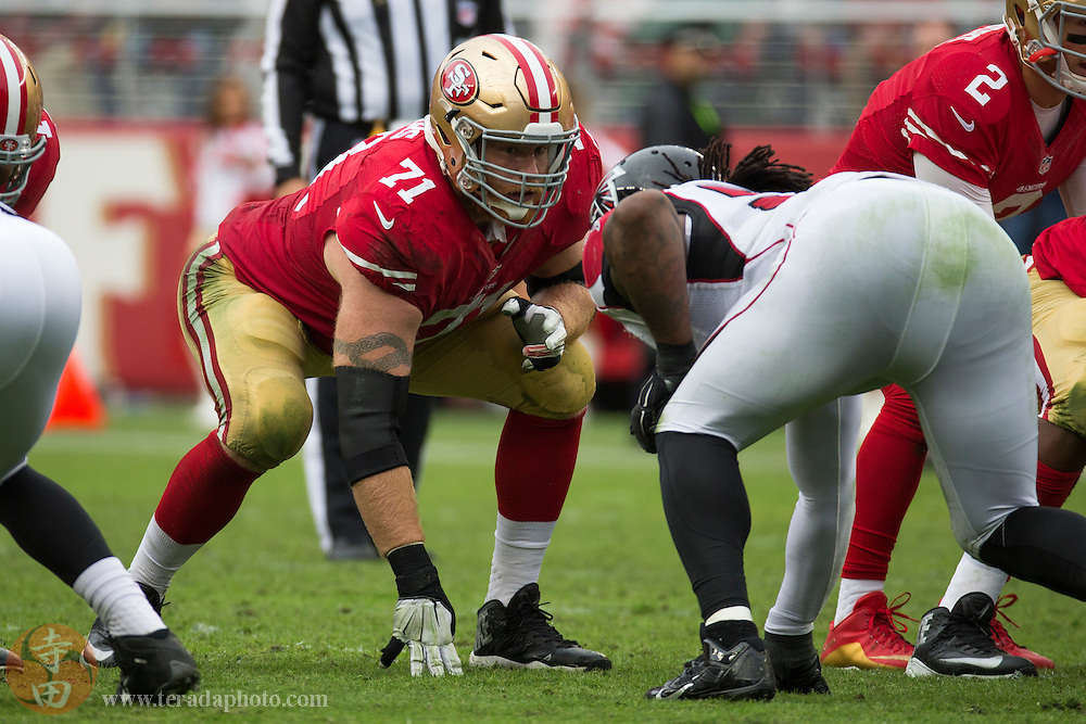 November 8, 2015; Santa Clara, CA, USA; San Francisco 49ers tackle Erik Pears (71) at the line of scrimmage during the second quarter against the Atlanta Falcons at Levi's Stadium. The 49ers defeated the Falcons 17-16.