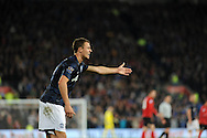 Jonny Evans of Manchester United makes his point.<br /> Barclays Premier League match, Cardiff city v Manchester Utd at the Cardiff city stadium in Cardiff, South Wales on Sunday 24th Nov 2013. pic by Phil Rees, Andrew Orchard sports photography,