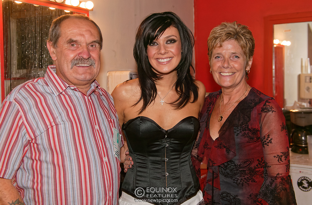 London, United Kingdom - 28 October 2003<br /> * EXCLUSIVE IMAGES *<br /> Singer Kym Marsh is pictured with her father David Marsh and mother Pauline Marsh in 2003. Kym revealed in June 2021 that her father has been diagnosed with incurable prostate cancer, and that her mother had been finding the COVID lockdown difficult. Former member of band Hear'Say Kym Marsh and her family were pictured backstage after performing for gay fans at the G-A-Y Club at the London Astoria nightclub, Soho, London in 2003.<br /> <br /> (photo by: EDWARD HIRST / EQUINOXFEATURES.COM)<br /> Picture Data:<br /> Photographer: EDWARD HIRST<br /> Copyright: ©2003 Equinox Licensing Ltd. Contact: Equinox Features<br /> www.newspics.com