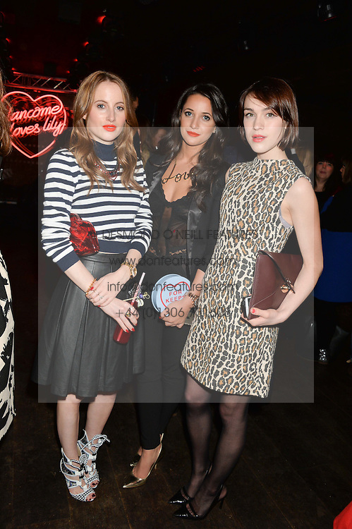 Left to right, ROSIE FORTESCUE, ROXIE NAFOUSI and ELLA CATLIFF at the Lancôme pre BAFTA party held at The London Edition, 10 Berners Street, London on 14th February 2014.