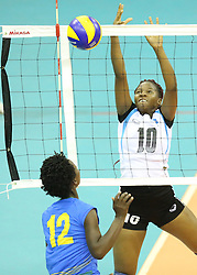 Nkobedi Moitlamo (R) of Botswana blocks against Demitrie Muhimpunda of Rwanda during their U23 Africa Nations Championship at Safaricom Stadium Stadium in Nairobi on October 26, 2016. Rwanda won 3-0. Photo/Fredrick Onyango/www.pic-centre.com (KEN)