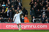 Martin Olsson of Swansea city celebrates after he scores his teams  2nd goal to make it 2-2. Premier league match, Swansea city v Burnley at the Liberty Stadium in Swansea, South Wales on Saturday 4th March 2017.<br /> pic by Andrew Orchard, Andrew Orchard sports photography.