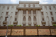 The Egyptian presidential palace in Cairo, Egypt, with the surrounding walls covered with anti-government slogans. Cairo, Egypt.