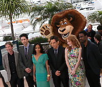 Martin Short, David Schwimmer, Jada Pinkett Smith, Ben Stiller, Jessica Chastain and Chris Rock at the Madagascar 3: Europe's Most Wanted photocall at the 65th Cannes Film Festival. Friday 18th May 2012 in Cannes Film Festival, France.