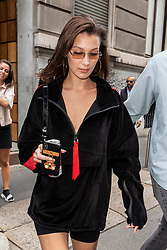Bella Hadid is leaving Tod's show room after a fitting during Milan Fashion Week Spring/Summer 2019 on September 20, 2018 in Milan, Italy. Photo by Marco Piovanotto/ABACAPRESS.COM