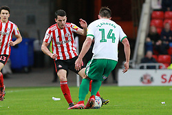 March 2, 2019 - Sunderland, England, United Kingdom - Sunderland's Lewis Morgan contests for the ball with Plymouth Argyle's Niall Canavan during the Sky Bet League 1 match between Sunderland and Plymouth Argyle at the Stadium Of Light, Sunderland on Saturday 2nd March 2019. (Credit Image: © Mi News/NurPhoto via ZUMA Press)