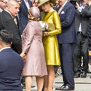 LUX/Luxemburg/20180523 - Staatsbezoek Luxemburg dag 1 , Koningin Maxima en Groothertogin Maria Teresa met koning Willem Alexander stllen de Nederlandse delegatie voor