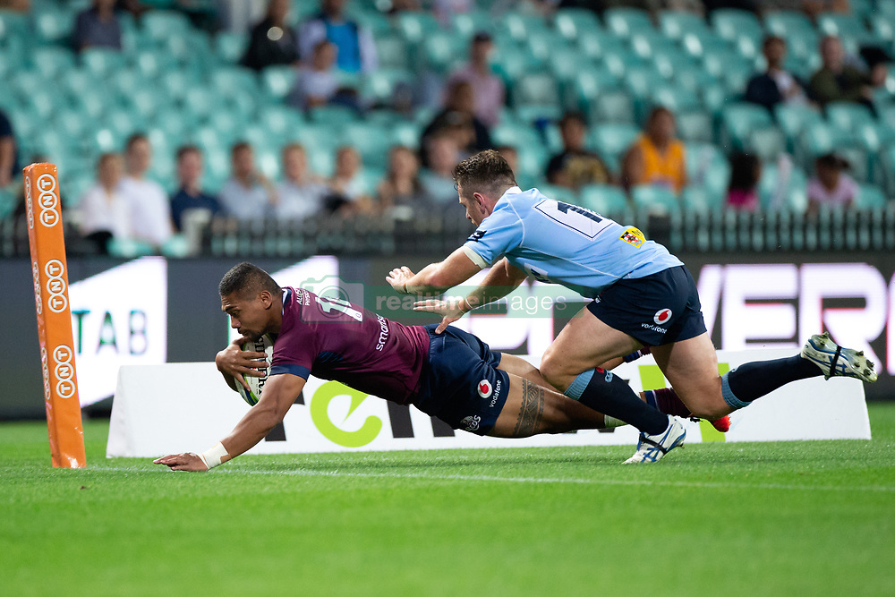 March 9, 2019 - Sydney, NSW, U.S. - SYDNEY, NSW - MARCH 09: Reds player Chris Feauai-Sautia (14) scores a try at round 4 of Super Rugby between NSW Waratahs and Queensland Reds on March 09, 2019 at The Sydney Cricket Ground, NSW. (Photo by Speed Media/Icon Sportswire) (Credit Image: © Speed Media/Icon SMI via ZUMA Press)