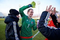 ZENICA, BOSNIA AND HERZEGOVINA - Tuesday, November 28, 2017: Wales' goalkeeper Laura O'Sullivan celebrates after the 1-0 victory over Bosnia and Herzegovina during the FIFA Women's World Cup 2019 Qualifying Round Group 1 match between Bosnia and Herzegovina and Wales at the FF BH Football Training Centre. (Pic by David Rawcliffe/Propaganda)