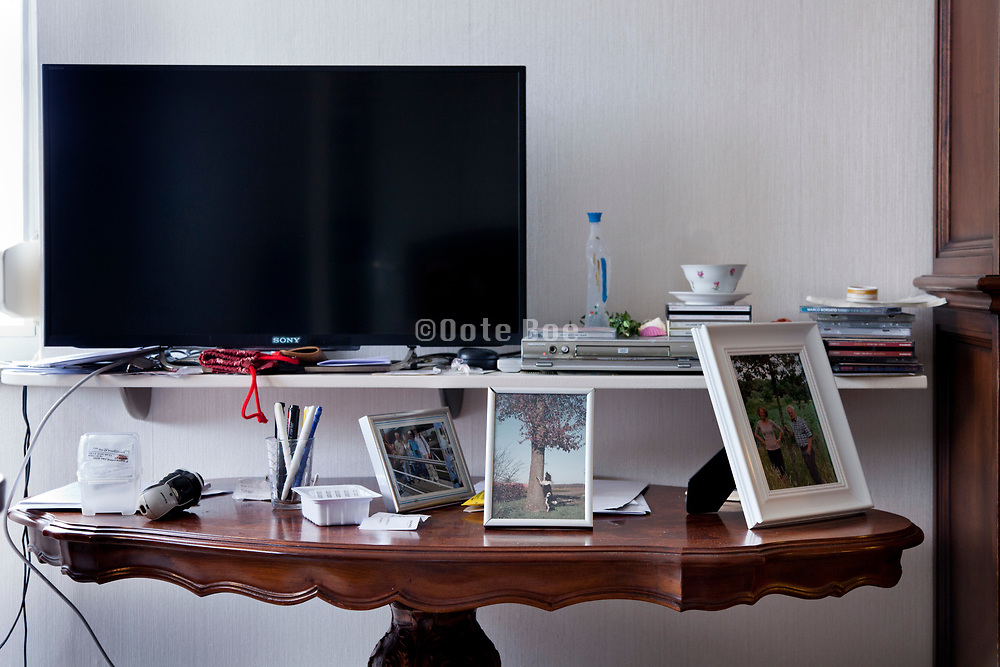 table in house of elderly man living alone in an assisted living retirement housing