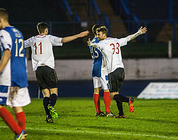 Falkirk's Rory Loy cele scoring their second goal.<br /> Cowdenbeath 0 v 2 Falkirk, Scottish Championship game today at Central Park, the home ground of Cowdenbeath Football Club.<br /> © Michael Schofield.