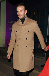 David Beckham and his wife Victoria Beckham leave The Connaught Hotel in Mayfair, having spent around 2 hours inside having a family meal with Victoria's sister Louise Adams, and her parents Jackie Adams and Anthony Adams.<br />