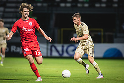 Alexander Munksgaard of AGF Aarhus and Luka Bobičanec of Mura during football match between NS Mura and AGF Aarhus in Second Round of UEFA Europa League Qualifications, on September 17, 2020 in Stadium Fazanerija, Murska Sobota, Slovenia. Photo by Blaz Weindorfer / Sportida