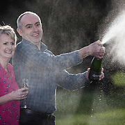 £33million British Lotto winners David and Carol Martin, both 54, from Hawick in the Scottish Borders celebrate their massive win at the Dalmahoy Hotel near Edinburgh. Picture Robert Perry 13th Jan 2016