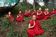 Meditation in front of Milarepa painting - Karma Drubdey nunnery, Bhutan, 2016