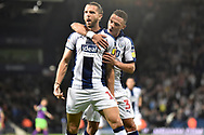 West Bromwich Albion striker Jay Rodriguez (19) scores a goal and celebrates  1-0 during the EFL Sky Bet Championship match between West Bromwich Albion and Bristol City at The Hawthorns, West Bromwich, England on 18 September 2018.