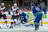 KELOWNA, BC - SEPTEMBER 29: Richard Panik #14 of the Arizona Coyotes looks for the pass as Ben Hutton #27 tries to block the shot on Jacob Markstrom #25 of the Vancouver Canucks during first period at Prospera Place on September 29, 2018 in Kelowna, Canada. (Photo by Marissa Baecker/NHLI via Getty Images)  *** Local Caption *** Ben Hutton;Jacob Markstrom;Richard Panik