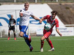 Isak Tånnander (HIK) og Mathias Christensen (FC Helsingør) under træningskampen mellem FC Helsingør og HIK den 1. august 2020 på Helsingør Ny Stadion (Foto: Claus Birch).