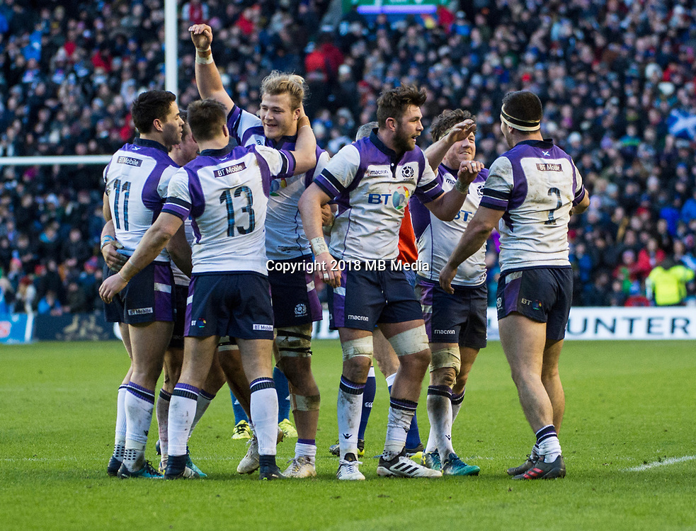 EDINBURGH, SCOTLAND - FEBRUARY 11: Scotland beat France by 32 points to 26 in a close fought match during the NatWest Six Nations match between Scotland and France at Murrayfield on February 11, 2018 in Edinburgh, Scotland. (Photo by MB Media/Getty Images)