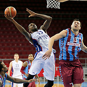 Anadolu Efes's Stephane Lasme (C) and Trabzonspor's Andrija Stipanovic (2ndR) during their friendly match Anadolu Efes between Trabzonspor at Abdi Ipekci Arena in Istanbul Turkey on Saturday 16 May 2015. Photo by Aykut AKICI/TURKPIX