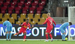 Målscorer Jonathan Amon (FC Nordsjælland) jubler efter det sene sejrsmål til 1-0 under kampen i 3F Superligaen mellem FC Nordsjælland og Randers FC den 19. oktober 2020 i Right to Dream Park, Farum (Foto: Claus Birch).