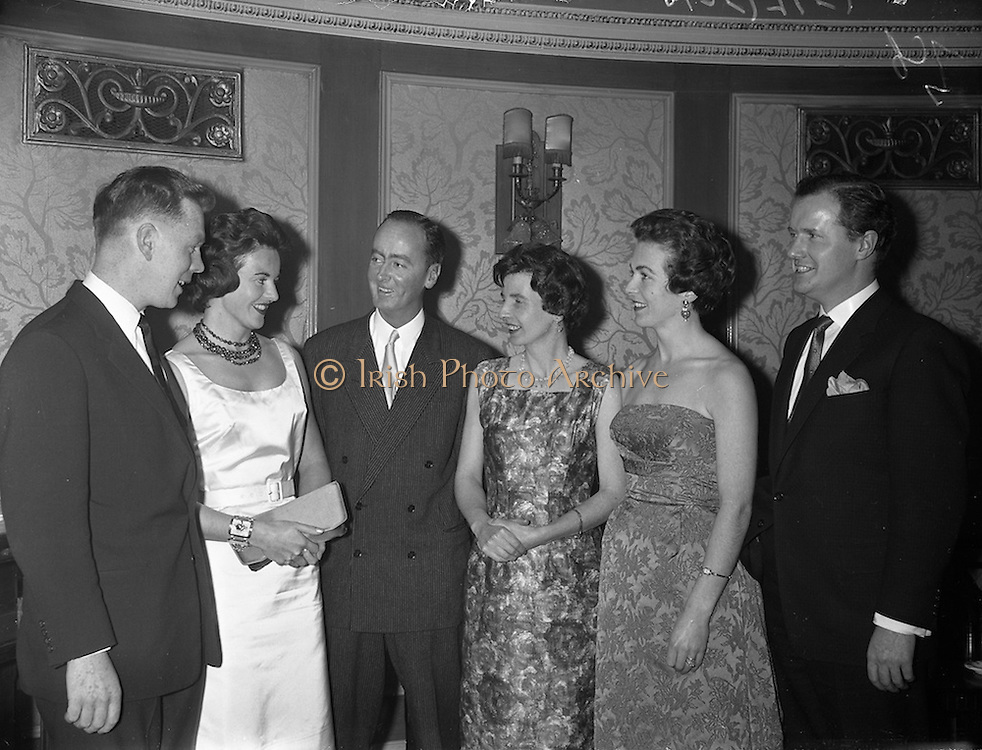 09/12/1960<br /> 12/09/1960<br /> 09 December 1960<br /> Irish Hotel Management Association dinner at the Metropole Hotel, Dublin. At the event were (l-r): Mr. Lillis O'Leary, McFaddens Hotel,  Gortahork Co. Donegal; Mrs (Mary?) and Mr. William Huggard, Butler Arms Hotel, Waterville, Co. Kerry; Mrs Michael MacMenamin; Mrs L. O'Leary and Mr. Michael MacMenamin, Metropole Hotel, Dublin.