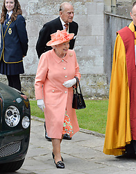 HM The Queen and HRH The Duke of Edinburgh at the wedding of the Hon.Alexandra Knatchbull to Thomas Hooper held at Romsey Abbey, Romsey, Hampshire on 25th June 2016