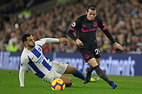 Football - 2018 / 2019 Premier League - Brighton and Hove Albion vs. Everton<br /> <br /> Bernard of Everton skips over the tackle from Martin Montoya of Brighton during the Premier League match at The Amex Stadium Brighton  <br /> <br /> COLORSPORT/SHAUN BOGGUST