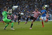 Football - 2018 / 2019 EFL Sky Bet League One - Play-Off Semi-Final,Second Leg: Portsmouth (0) vs. Sunderland (1)<br /> <br /> Chris Maguire of Sunderland lifts the ball over Portsmouth's goalkeeper Craig MacGillivray only for the chance to be cleared at Fratton Park <br /> <br /> COLORSPORT/SHAUN BOGGUST