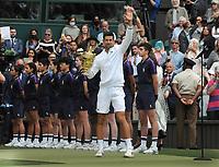 Lawn Tennis - 2021 All England Championships - Men's Final Sunday - Wimbledon - Novak Djokovic  v Matteo Berrettini on Centre Court<br /> <br /> Novak Djokovic salutes the crowd <br /> <br /> Credit : COLORSPORT / Andrew Cowie