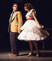 Tony (Jack Harding) and Maria (Heather Hunt) during Wednesday's dress rehearsal for Gilford High School's production of West Side Story.  (Karen Bobotas/for the Laconia Daily Sun)