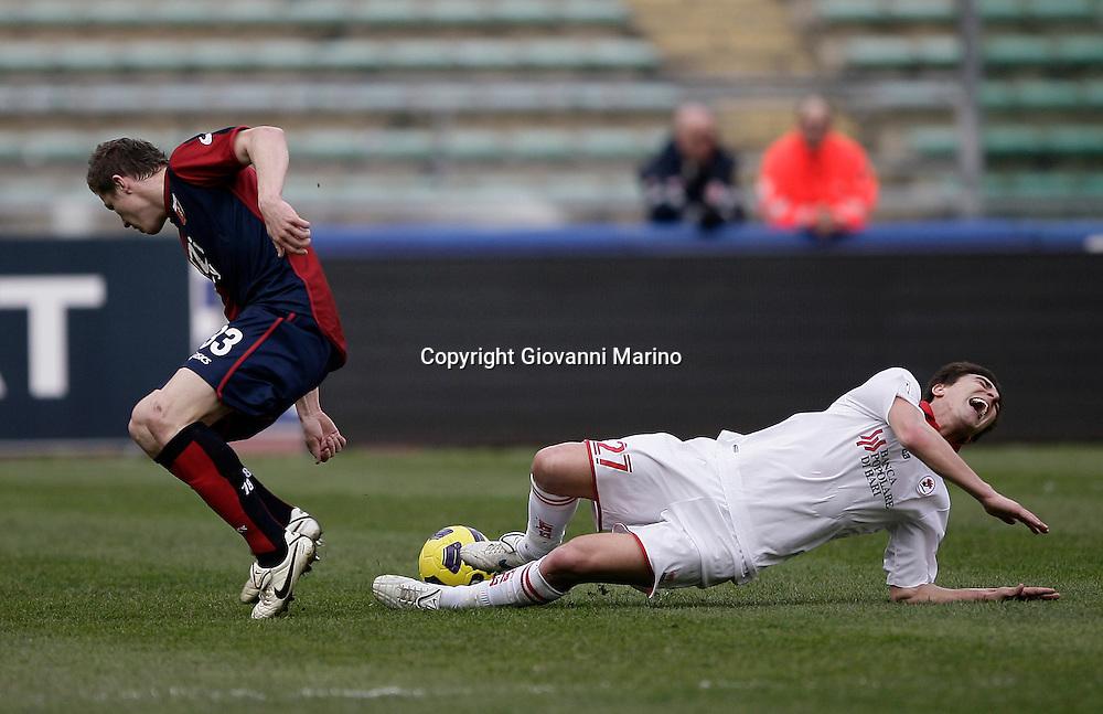 Bari (BA), 13-02-2011 ITALY - Italian Soccer Championship Day 25 - Bari VS Genoa..Pictured: Floro Flores (GE) Bentivoglio (BA).Photo by Giovanni Marino/OTNPhotos . Obligatory Credit