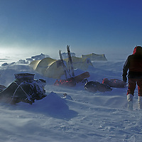 ANTARCTICA. Jerry Corr (MR) in windy camp at 83 degrees south latitude during South Pole Ski Expedition in 1988.