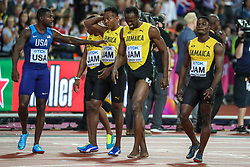 London, August 12 2017 . Justin Gatlin wishes Usain Bolt well after he pulled up injured as he ran the final 100m in the men's 4x 100m relay  on day nine of the IAAF London 2017 world Championships at the London Stadium. © Paul Davey.
