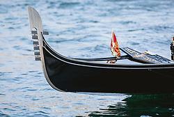 THEMENBILD - Detailansicht eines Bug der typisch venezianischen Gondel, aufgenommen am 05. Oktober 2019 in Venedig, Italien // Detailed view of a bow of the typical Venetian gondola, in Venice, Italy on 2019/10/05. EXPA Pictures © 2019, PhotoCredit: EXPA/Stefanie Oberhauser