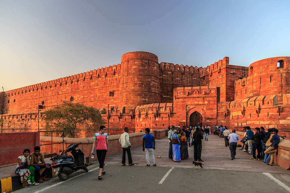 Amar Singh Gate in Agra Fort, India. The south gate is the main entrance for the public.