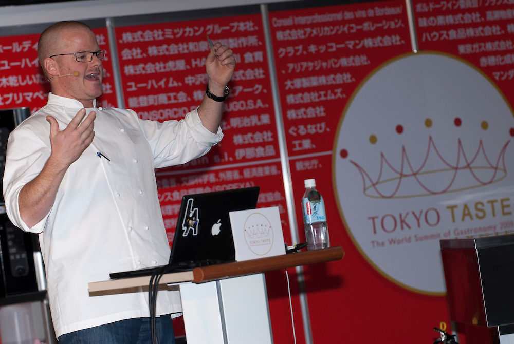 Chef Heston Blumenthal gives a speech and demonstration at the Tokyo Taste, The World Summit of Gastronomy 2009, 10 February 2009,Tokyo, Japan.Many of the world's top chefs are assembled for the sold-out 3 day event in the center of Tokyo.