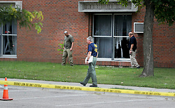 August 5, 2017 - Bloominton, MN, US - Police and federal authorities are investigating an early morning explosion Saturday at the Dar Al Farooq Islamic Center in Bloomington. No injuries were reported. One worshiper reportedly saw a pickup truck speed off.Saturday, Aug. 5, 2017, in Bloomington, MN. Here, law enforcement officials comb the scene of the bomb blast.]......DAVID JOLES • david.joles@startribune.com....Police and federal authorities are investigating an early morning explosion Saturday at the Dar Al Farooq Islamic Center in Bloomington. No injuries were reported. One worshiper reportedly saw a pickup truck speed off. (Credit Image: © David Joles/Minneapolis Star Tribune via ZUMA Wire)