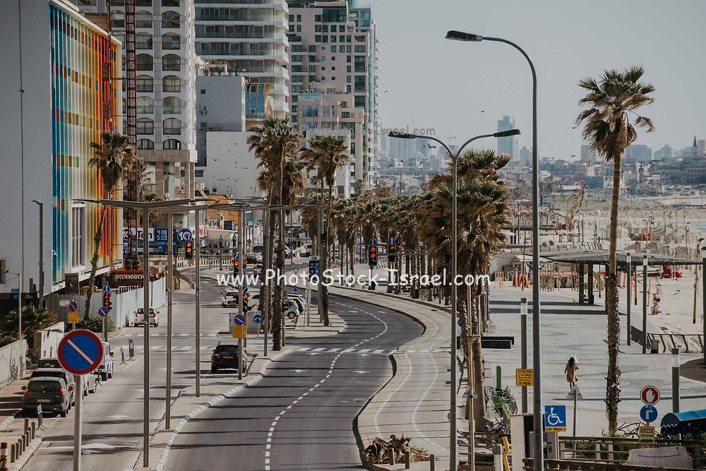 The outbreak of COVID-19 has forced governments around the world to impose a civil quarantine. The outcome of this are empty streets and public places. Photographed on the Tel Aviv beach front , Israel on April 8th 2020